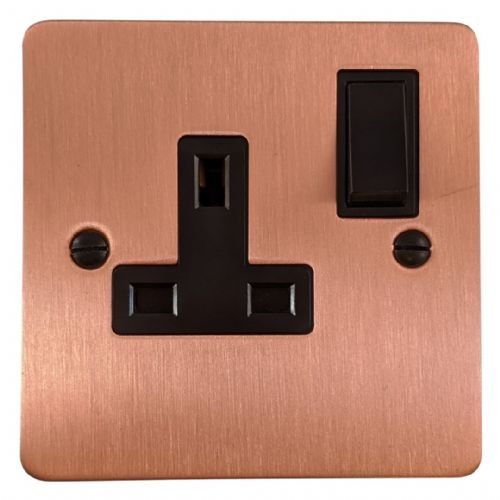 G&H FRG9B Flat Plate Rose Gold 1 Gang Single 13A Switched Plug Socket